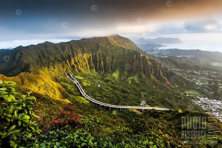 "A morning aerial view of the Ko'olau Range and H-3 Highway in Ha'iku Valley from Ha'iku Stairs (or ""Stairway to Heaven"") hiking trail in Kane'ohe, O'ahu."