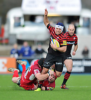 Schalk Brits is tackled in possession. Aviva Premiership match, between Saracens and London Welsh on March 3, 2013 at Allianz Park in London, England. Photo by: Patrick Khachfe / Onside Images