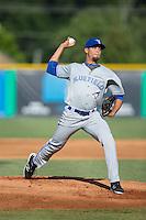 Bluefield Blue Jays starting pitcher Denis Diaz (22) in action against the Burlington Royals at Burlington Athletic Stadium on June 26, 2016 in Burlington, North Carolina.  The Blue Jays defeated the Royals 4-3.  (Brian Westerholt/Four Seam Images)