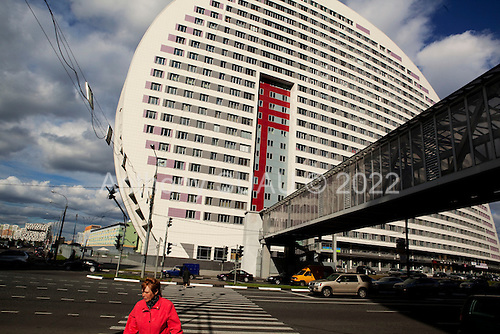 Moscow, Russia<br /> September 21, 2009<br /> <br /> One of Moscow's many new office and residential building by Russian architect Boris Olegovich Uborevich-Borovskiy. This building is called the &quot;Earth's ear&quot;, by the architect but a critic named it Moby Dick.