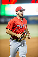 AZL Angels shortstop Nonie Williams (27) jogs to the dugout between innings during a game against the AZL Indians on August 7, 2017 at Tempe Diablo Stadium in Tempe, Arizona. AZL Indians defeated the AZL Angels 5-3. (Zachary Lucy/Four Seam Images)