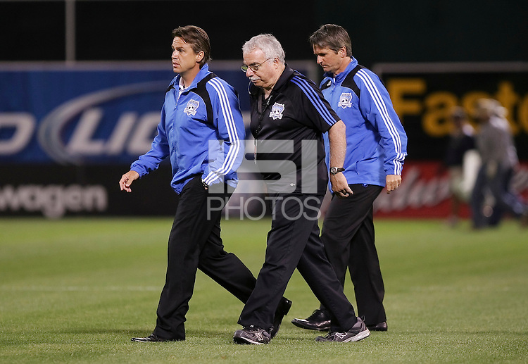 Frank Yallop and staff. San Jose Earthquakes tied Los Angeles Galaxy 1-1 at the McAfee Colisum in Oakland, California on April 18, 2009.