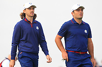 Tommy Fleetwood and Francesco Molinari (Team Europe) on the 7th during Friday Fourball at the Ryder Cup, Le Golf National, Iles-de-France, France. 28/09/2018.<br /> Picture Thos Caffrey / Golffile.ie<br /> <br /> All photo usage must carry mandatory copyright credit (© Golffile | Thos Caffrey)