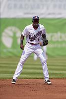 Auburn Doubledays third baseman Juan Pascal (6) during a game against the Batavia Muckdogs on June 17, 2018 at Falcon Park in Auburn, New York.  Auburn defeated Batavia 10-8.  (Mike Janes/Four Seam Images)