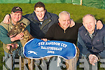 Track: The winning dog Eshwary Ando of the Kingdom Cup Coursing competition in Ballybegan on Wednesday , Joe Joe Daly, Sean Keenan, Gary Anderson(owner) and John Brassil(Nominator) from Abbeydorney..