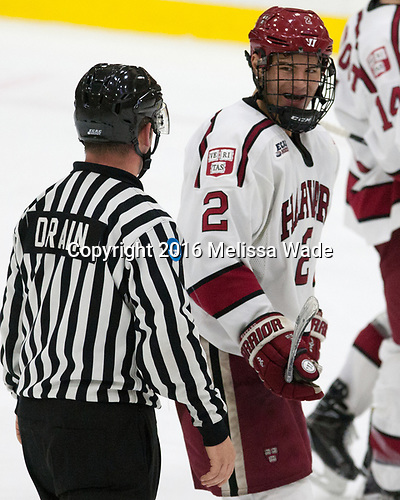 Stephen Drain, Tyler Moy (Harvard - 2) - The Harvard University Crimson defeated the US National Team Development Program's Under-18 team 5-2 on Saturday, October 8, 2016, at the Bright-Landry Hockey Center in Boston, Massachusetts.