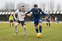 7th March 2020; Somerset Park, Ayr, South Ayrshire, Scotland; Scottish Championship Football, Ayr United versus Dundee FC; Kane Hemmings of Dundee holds off Jordan Houston of Ayr United