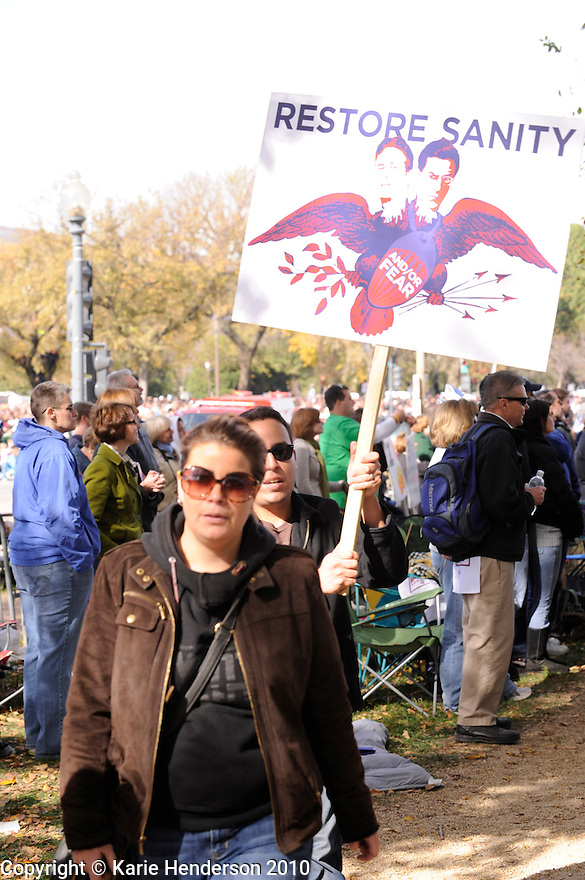 Jon Stewart and Stephen Colbert's Rally for Sanity and or Fear, on the National Mall in Washington DC, on Saturday October 30, 2010. Photo by, Karie Henderson © 2010