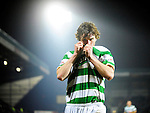 24 JAN 2010, ST JOHNSTONE V CELTIC, McDIARMID PARK, PERTH, PADDY McCOURT CELEBRATES SCORING CELTIC'S FOURTH GOAL 1-4, ROB CASEY PHOTOGRAPHY.