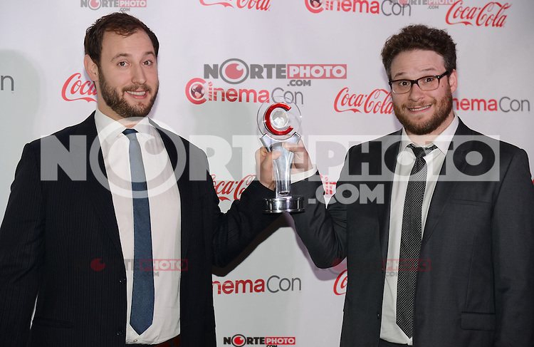 LAS VEGAS, NV - March 27: Comedy Filmmakers of the Year Award winners Evan Goldberg and Seth Rogan at the CinemaCon Big Screen Achievement Awards on March 27, 2014 in Las Vegas, Nevada. © Kabik/ Starlitepics