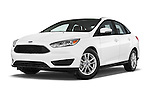 Stock pictures of low aggressive front three quarter view of a 2015 Ford Focus SE Sedan 4 Door Sedan Low Aggressive