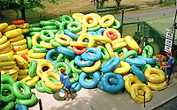 Tubing Along The Delaware River In Tinicum, Pennsylvania
