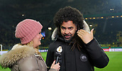 February 5th 2019, Dortmund, Germany, German DFB Cup round of 16, Borussia Dortmund versus SV Werder Bremen;  Patrick OWOMOYELA with a WITSEL Wig, given by presenter LANGE