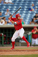 Clearwater Threshers third baseman Jan Hernandez (3) at bat during a game against the Palm Beach Cardinals on April 14, 2017 at Spectrum Field in Clearwater, Florida.  Clearwater defeated Palm Beach 6-2.  (Mike Janes/Four Seam Images)