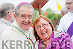 Holyness<br /> ------------<br /> Bishop of Cloyne,Co Cork and Tralee born, Bill Crean shares a bit of fun with Marian McMahon from the Spa,Tralee after mass at Rath cemetery last Wednesday evening.