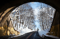 LOCKPORT, NEW YORK -  Jan 9: Spring Street is seen from under the railway overpass looking South towards Main Street in downtown Lockport, New York, on Saturday, January 9, 2010.  (Photo by Landon Nordeman)