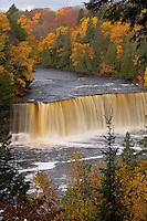 Upper Tahquamenon Falls with fall color in Tahquamenon Falls State Park near Newberry Michigan.