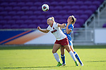 ORLANDO, FL - DECEMBER 03: Claire Winter #25 of UCLA and Belle Briede #4 of Stanford University battle for a header during the Division I Women's Soccer Championship held at Orlando City SC Stadium on December 3, 2017 in Orlando, Florida. (Photo by Jamie Schwaberow/NCAA Photos via Getty Images)