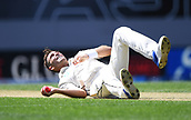 22nd March 2018, Eden Park, Auckland, New Zealand; International Test Cricket, New Zealand versus England, day 1;  Tim Southee takes a catch off his own bowling to dismiss Bairstow