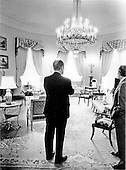 United States President Gerald R. Ford looks over the Yellow Oval Room on the second floor of the residential part of the White House in Washington, D.C. on August 13, 1974.<br /> Mandatory Credit: David Hume Kennerly / White House via CNP
