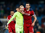 Liverpool's Loris Karius and Dejan Lovren celebrate at the final whistle during the Champions League Quarter Final 2nd Leg match at the Etihad Stadium, Manchester. Picture date: 10th April 2018. Picture credit should read: David Klein/Sportimage