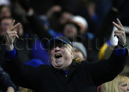 11th December 2017, Madejski Stadium, Reading, England; EFL Championship football, Reading versus Cardiff City; A Cardiff City fan celebrates Lee Tomlin of Cardiff City levelling the score at 2-2 in the 91st minute