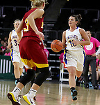SIOUX FALLS, SD - FEBRUARY 10:  Dalee Stene #10 from O'Gorman drives against Hannah Gilbertson #3 from Roosevelt in the first half of their game at the Denny Sanford Premier Center. (Photo by Dave Eggen/Inertia)