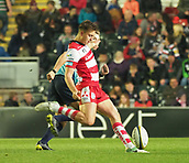 4th November 2017, Welford Road, Leicester, England; Anglo-Welsh Cup, Leicester Tigers versus Gloucester;  Gloucesters fly-half Lloyd Evans kicks from the centre spot to restart the game