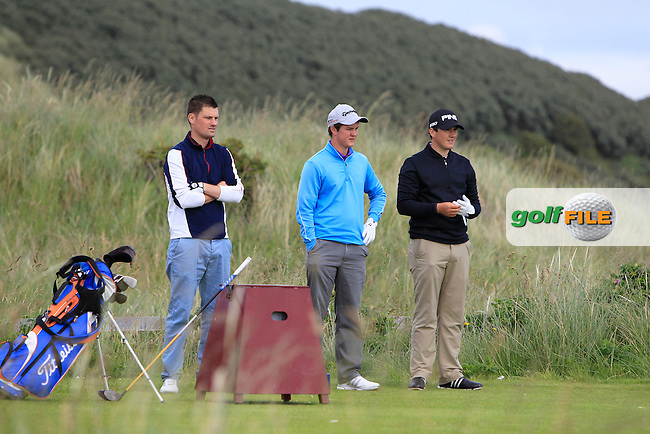 Rory O'Connor (Strandhill), John-Ross Galbraith (Whitehead) and Colm Campbell (Warrenpoint) on the 7th tee during Round 1 of the North of Ireland Amateur Open Championship at Royal Portrush, Valley Corse on Monday 13th July 2015.<br /> Picture:  Thos Caffrey / www.golffile.ie
