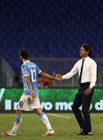 Football, Serie A: S.S. Lazio - Brescia, Olympic stadium, Rome, July 29, 2020. <br /> Lazio's coach Simone Inzaghi (r) celebrates with his player Luis Alberto (l) after winning 2-0 the Italian Serie A football match between S.S. Lazio and Brescia at Rome's Olympic stadium, Rome, on July 29, 2020. <br /> UPDATE IMAGES PRESS/Isabella Bonotto