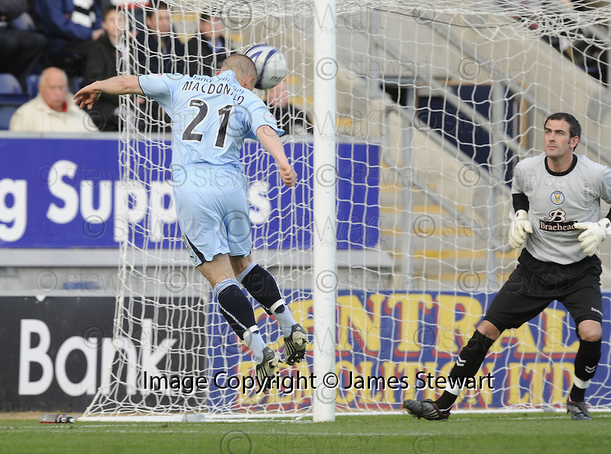 17/10/2009  Copyright  Pic : James Stewart.sct_jspa20_falkirk_v_st_mirren  . :: ALEX MACDONALD HEADS IN FALKIRK'S GOAL :: .James Stewart Photography 19 Carronlea Drive, Falkirk. FK2 8DN      Vat Reg No. 607 6932 25.Telephone      : +44 (0)1324 570291 .Mobile              : +44 (0)7721 416997.E-mail  :  jim@jspa.co.uk.If you require further information then contact Jim Stewart on any of the numbers above.........