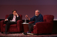 """(Photo by Gary McCarthy/Live Talks Los Angeles)<br /> <br /> Live Talks Los Angeles presents """"An Evening with Terry Gilliam"""" at the Alex Theater in Glendale, Oct. 19, 2015. Gilliam '62 discussed his 'Pre-posthumous Memoir' """"Gilliamesque"""" with host Sam Rubin '82.<br /> Gilliam is a screenwriter, director, animator, actor, and member of the Monty Python comedy troupe.<br /> <br /> (Photo by Gary McCarthy/Live Talks Los Angeles)"""