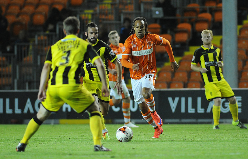 Blackpool's Charles Dunne in action during todays match  <br /> <br /> Photographer Kevin Barnes/CameraSport<br /> <br /> Football - The Football League Sky Bet League One - Blackpool v Burton Albion - Tuesday 18th August 2015 - Bloomfield Road - Blackpool<br /> <br /> &copy; CameraSport - 43 Linden Ave. Countesthorpe. Leicester. England. LE8 5PG - Tel: +44 (0) 116 277 4147 - admin@camerasport.com - www.camerasport.com
