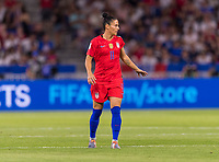 LYON,  - JULY 2: Ali Krieger #11 talks to her team during a game between England and USWNT at Stade de Lyon on July 2, 2019 in Lyon, France.