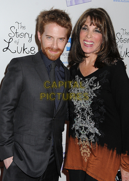 """Seth Green, Kate Linder.""""The Story of Luke"""" Los Angeles Premiere held at the Laemmle Music Hall, Beverly Hills, California, USA..April 2nd, 2013.half length black beard facial hair suit tie smiling brown top print   .CAP/ADM/BP.©Byron Purvis/AdMedia/Capital Pictures."""