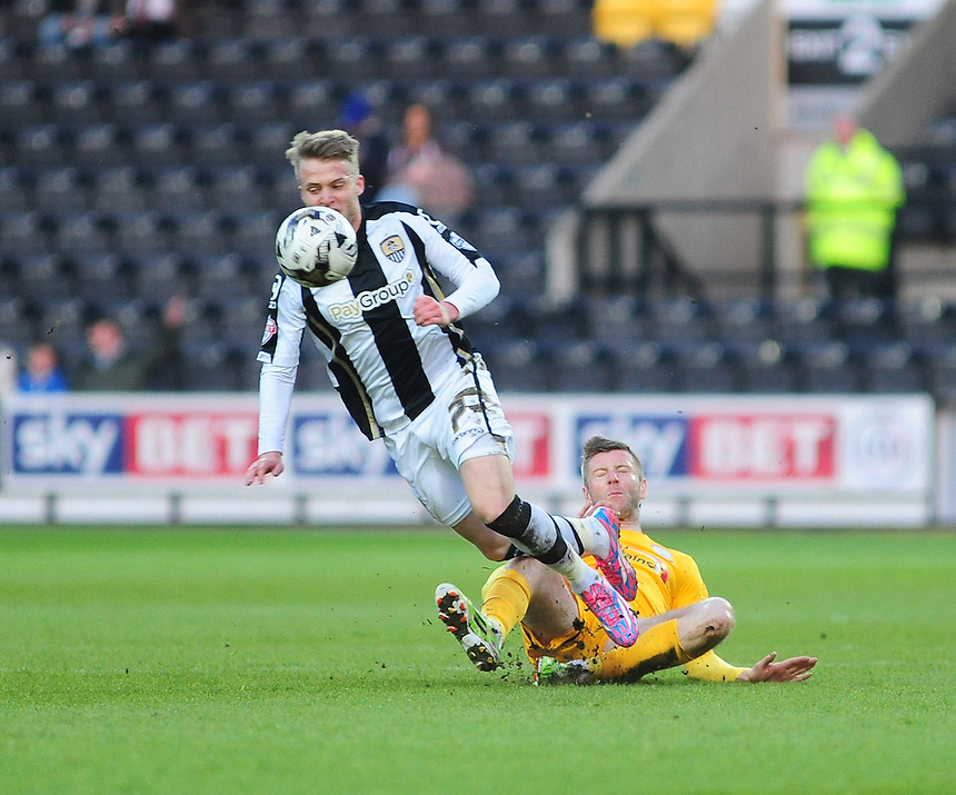 Notts County's Will Hayhurst is brought down by Preston North End's Paul Gallagher<br /> <br /> Photographer Andrew Vaughan/CameraSport<br /> <br /> Football - The Football League Sky Bet League One - Notts County v Preston North End - Tuesday 21st April 2015 - Meadow Lane - Nottingham<br /> <br /> &copy; CameraSport - 43 Linden Ave. Countesthorpe. Leicester. England. LE8 5PG - Tel: +44 (0) 116 277 4147 - admin@camerasport.com - www.camerasport.com