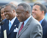"September 19, 2011 (New Carrollton, MD)  Raymond A. Skinner (center), Secretary of the Maryland Department of Housing and Community Development (DHCD), joined Lt. Governor Anthony G. Brown (right), and Prince George's County Executive Rushern Baker (left) in announcing the relocation of the Maryland Department of Housing and Community Development (DHCD) from its current location in Crownsville, Maryland, to a site in New Carrollton, Maryland.  The new site, called ""Metroview,"" will locate DHCD's headquarters in a new, retail, residential, and mixed-use facility. When completed, it will also be convenient to the Purple Line light rail, and is anticipated to generate a net public benefit (to both the State and County) of over $11 million over the course of the 15-year lease and create an estimated 300 jobs in its construction and an additional 80 retail jobs.     (Photo by Don Baxter/Media Images International)"
