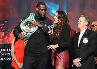 LAS VEGAS - NOVEMBER 22:  Deontay Wilder and Heidi Androl attend the weigh in for the November 23 fight on the Fox Sports PBC Pay-Per-View Fight Night on November 22, 2019 in. Las Vegas, Nevada. (Photo by Scott Kirkland/Fox Sports/PictureGroup)