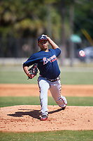 Atlanta Braves pitcher Ricardo Sanchez (22) during a Minor League Spring Training game against the Detroit Tigers on March 22, 2018 at the TigerTown Complex in Lakeland, Florida.  (Mike Janes/Four Seam Images)