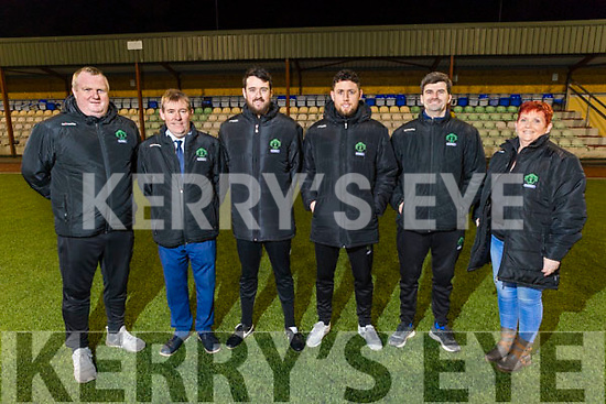 Brendan Moloney with the committee of KDL in Mounthawk Park on Thursday.<br /> L to r: Tommy Naughton, Sean O'Keeffe (KDL Chairman), Brendan Moloney (U17 Manager), Billy Dennehy (U19 Manager), Dan Maunsell (Committee Member and Geradine Nagle (KDL Vice Chair)