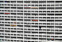 Balconies on the exterior of Le Brasilia high-rise, Marseille, France.