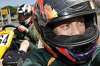 08/11/07 SW. South Wellington Intermediate School students Luuk Abernethy (left), 12, and Josh Huntley, 12, in the go-karts their student mechanic team rebuilt and have learnt to drive. Pictured during a practice run around the playground..Photo: Crispin Anderlini