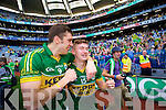 David Moran and James O'Donoghue. Kerry players celebrate their victory over Donegal in the All Ireland Senior Football Final in Croke Park Dublin on Sunday 21st September 2014.