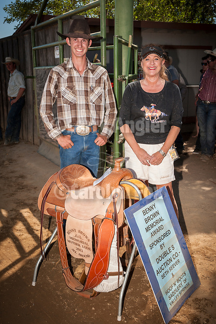 75th Amador County Fair, Plymouth, Calif.<br /> <br /> Day 3--Austin Whittle wins the Benny Brown Memorial All-around Mother Lode Cowboy saddle as the best of Amador &amp; Calaveras County presented by sponsor Hoof &amp; Boots Saddlery, Linda Belli