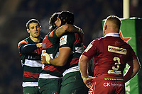 Sione Kalamafoni of Leicester Tigers celebrates his second half try with team-mates. Heineken Champions Cup match, between Leicester Tigers and the Scarlets on October 19, 2018 at Welford Road in Leicester, England. Photo by: Patrick Khachfe / JMP