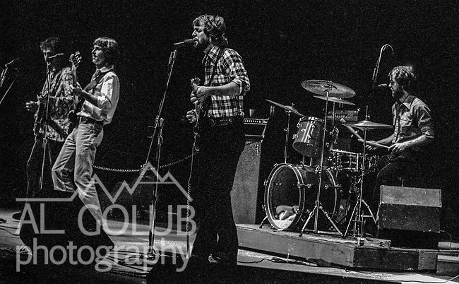 Modesto, California 1976 Valley Boys:  This band formed when Tom Romano the lead vocalist left for radio job in Sacramento.  They were signed to a five-year contract with former members of Credence Clearwater.  The created a couple of albums of material but no major record deal occurred so at the end of the contact members went their separate way.  Members are:<br /> Gary Potterton, lead guitar and vocals<br /> Doug Mathew Corrigan, drums and vocals<br /> Roger Roath, guitar and Vocals<br /> Doug Giddens, bass guitar and vocals<br /> Gary and Doug Corrigan are still close and have worked together on several projects.  In 1984 they recorded Grandma Got Run Over by a Reindeer with Doug Giddens and Elmo &amp; Patsy.  Doug Giddens died in 1993.  Gary is the lead guitar for the California Cowboys.  <br />  Photo by Al Golub