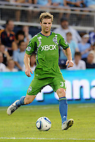 Jeff Parke (31) defender Seattle Sounders in action... Sporting Kansas City were defeated 1-2 by Seattle Sounders at LIVESTRONG Sporting Park, Kansas City, Kansas.