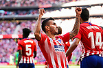 Angel Correa of Atletico de Madrid celebrating his score during the La Liga 2018-19 match between Atletico de Madrid and Real Betis at Wanda Metropolitano Stadium on October 07 2018 in Madrid, Spain. Photo by Diego Souto / Power Sport Images