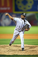Jacksonville Suns pitcher Lay Batista (4) delivers a pitch during a game game against the Chattanooga Lookouts on April 30, 2015 at AT&T Field in Chattanooga, Tennessee.  Jacksonville defeated Chattanooga 6-4.  (Mike Janes/Four Seam Images)