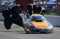Sept. 29, 2012; Madison, IL, USA: NHRA funny car driver Jeff Arend during qualifying for the Midwest Nationals at Gateway Motorsports Park. Mandatory Credit: Mark J. Rebilas-